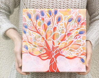 Tree, original painting on canvas, acrylic - vermilion and blue tree - 25 x 25 cm
