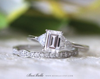 2.20 ct.tw Three Stone Engagement Ring W/ Art Deco Half Eternity Wedding Band-Emerald & Trillion Cut-Bridal Ring-Sterling Silver [62084ES-2]