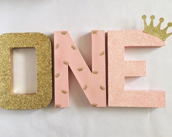 pink and gold glitter stand up one letter sign first birthday photo prop party decor paper mache winter onederland princess crown