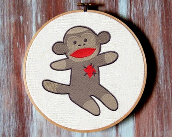 "Sock Monkey Hoop Art- Embroidery Hoop Decor-6"" Hoop Art"