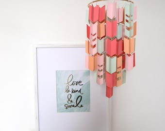 Coral Mint Pink & Peach Aztec Arrow Paper Mobile Chandelier (With Chevron Cutouts)