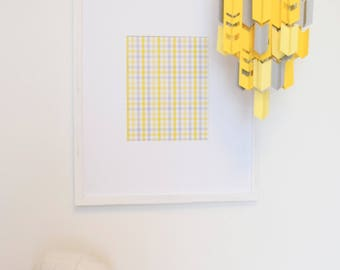 Yellow & Grey Aztec Arrow Paper Mobile Chandelier (With Chevron Cutouts)