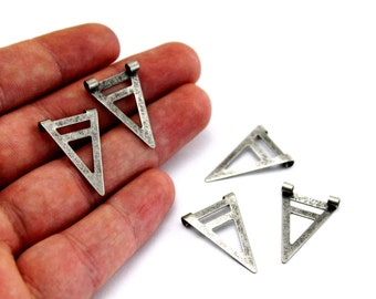 20 pcs 18x24 mm Brass Triangle Charms, Triangle Tag, Brass Findings, Antique Silver