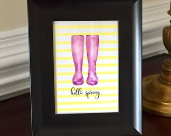Hello Spring Art Print - Spring Sign - Gardening - Rain Boots - Floral - 5x7 or 8x10