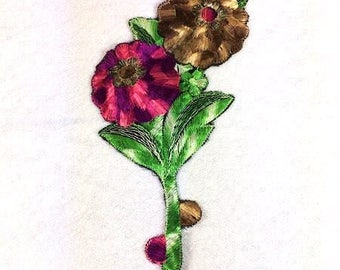 Jumbo Silk Pink Purple Brown Flowers Applique Patch Embroidery Applique Patches Antique Flower Patch 1935 Nr 8