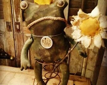 Primitive Frog Frog doll Spring Folk art Primitive doll Faap Hafair Haha