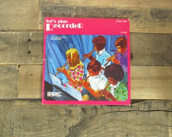 1970's Recorder Music Book - 'Lets Play Recorder'. How-To Book on Playing the Recorder with Beginner Songs. Perfect Gift for Kids.