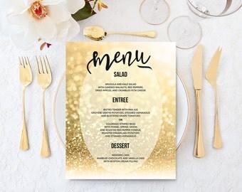Printable Wedding Menu Gold Wedding Menu Sign Digital Wedding Signage Gold Glitter Wedding Menu Cards Gold Wedding Print 5x7 8x10 16x20