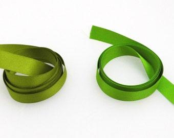 Green satin ribbon, 15 mm, Berisfords, double faced, greenery, spring green, moss green, satin trim, seam binding, wreath, hair ribbon,  UK