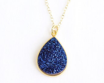 Large Druzy Teardrop Gold Fill Necklace-Natural Druzy Pear Vermeil Bezel-Blue,White,Copper Rose Gold,Charcoal Gray,Silver,Purple,Teal Green