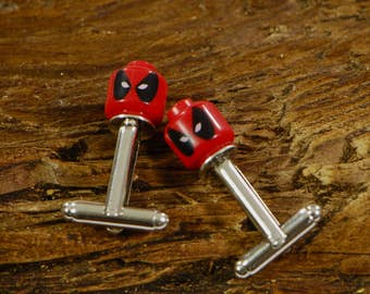 Groom Wedding Day Cufflinks - Deadpool Cufflinks - Superhero Cuff Links For Weddings - Wedding Day Gift For Grooms