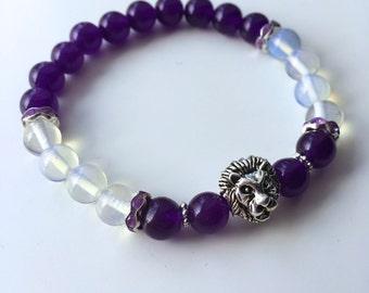 Natural pearls Bracelet: Amethyst & Lion