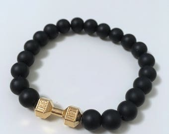 Natural Pearl Bracelet: black Agate