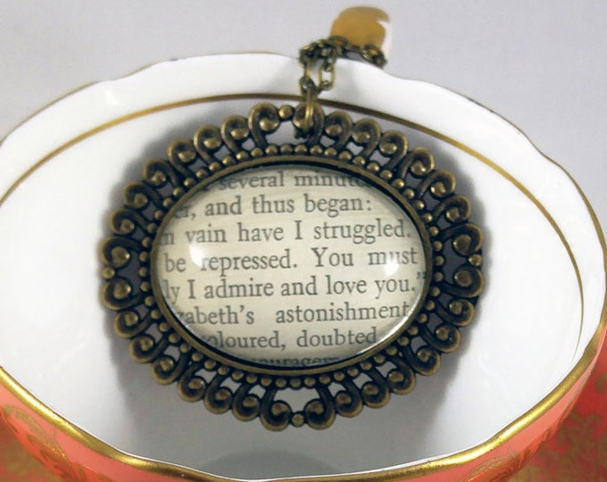 Literary Necklace - Book Jewelry - Jane Austen - Pride & Prejudice - Mr. Darcy - Upcycled - Handmade - Pendant - Love - Gift