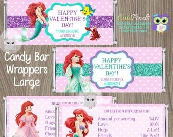 Little Mermaid Valentine's day Candy Bar Wrappers, Valentine's Candy Bar Wrappers, Little Mermaid Valentines, Valentines Chocolate Bar