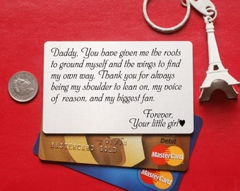 Father gift, Metal wallet card, Personalized Wallet Card, Your Own Message, Wallet Insert Card, Anniversary men gift, wedding Wallet Card,