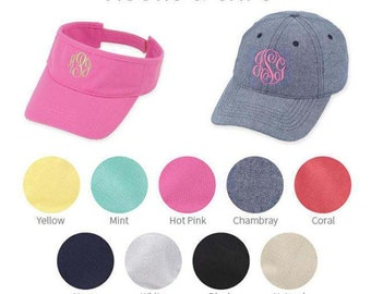 Monogram Cap OR Visor || Monogrammed Hat || Teacher Gift || Beach || Lake || Ladies Baseball Hat || Bridesmaid Gift || Honeymoon