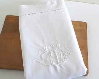 "Vintage Embroidered Linen and Cotton Sheet with Monogram ""M L"" 90x126 in - French Antique Linen"