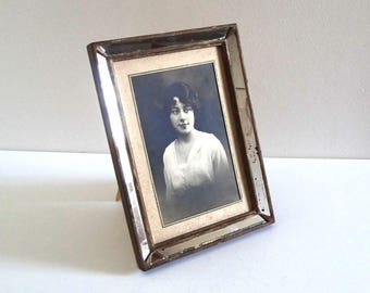 Antique Mirror and Wood Picture Frame - French Vintage 1920s Photo Frame with Woman Portrait