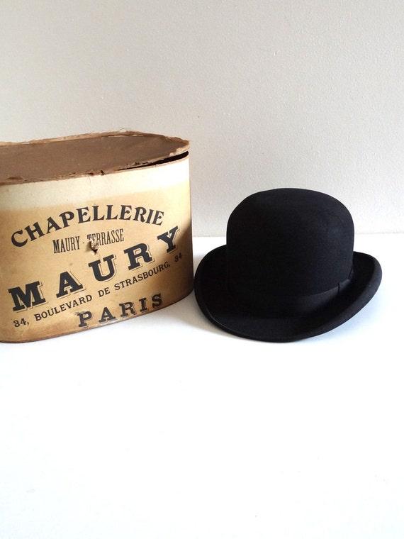 chapeau melon ancien 1900 avec sa bo te chapeau homme. Black Bedroom Furniture Sets. Home Design Ideas