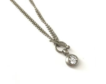 Vintage 1.5ct Cubic Zirconia Matte Silver Ball Chain Dotted Orb Chain Necklace