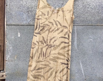 SALE Eco-friendly dress // naturally dyed slip // leaf print dress