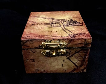 Harry Potter Marauders Map Inspired Proposal Engagement Ring Box Ring Bearer Pillow Box