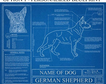 Personalized German Shepherd Blueprint / German Shepherd Art / German Shepherd Wall Art / German Shepherd Gift / German Shepherd Print