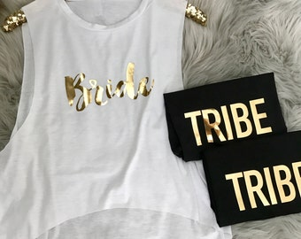 Bride Tribe Cropped Muscle Tank Tops // Bachelorette Party Tank Tops, Bach Group Tank Tops, Bride to be Tank Tops, Bridal Shower Tanks 6003