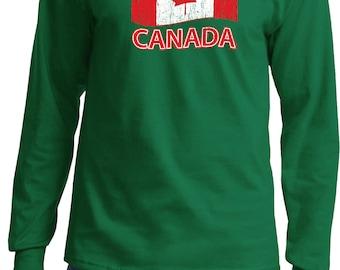 Men's Distressed Canada Flag Long Sleeve Tee T-Shirt DISCANADA-PC61LS