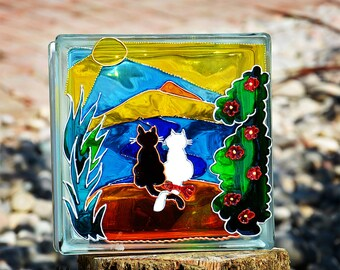 Cat Night Light & Sun Catcher / Recycled + Hand Painted Glass Block/ Cute Cat Couple / Gift for Cat Lover / Garden Ornament / Glass Painting