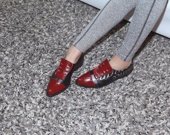 Burgundy Vegan Shoes for Women, Designer Flat Shoes, Handmade Vegan Women Shoes, Women Black & Red Shoes, Low Heels Shoes, Vegan Flats