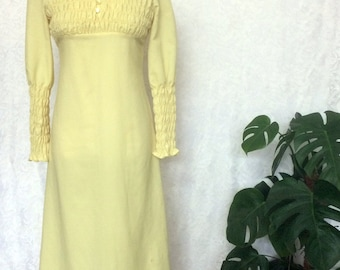 1970's Vintage Lemon Yellow Ruched Elastic Detail Bodice and Sleeves Maxi Dress / size Small