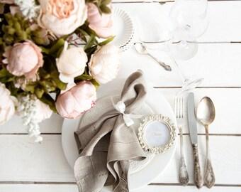 Hemstitched Linen Napkins set of 4 - Wedding Napkins