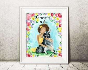 Goat Art - Watercolor Goat - Vegan Home Decor - Farm Animal Art - Vegan Print - Goat Wall Art - Animal Lover Gift - Girl Art - Spring Decor
