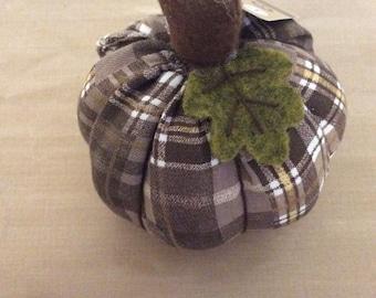 CLEARANCE -- Plaid Brown Green White Pumpkin Fall Autumn