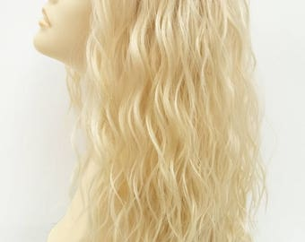 Long 23 inch Lace Front Light Blonde Layered Beach Waves Heat Resistant Wig. [120-566-Olive-613]