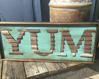 country kitchen decor. YUM Sign  Rustic Kitchen Decor Farmhouse Metal Letter Corrugated kitchen decor Etsy