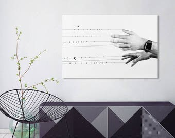 "Black and white art, minimalist art, surreal art, hands art print, minimalist print, birds wall art, black and white print - ""Bound to you""."