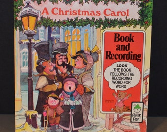 Peter Pan Record A Christmas Carol 45RPM Record and Book