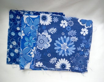 Flowered Fabric Pieces, Quilting Squares, Blue and White, Floral Material, Lightweight Cotton, DIY Project
