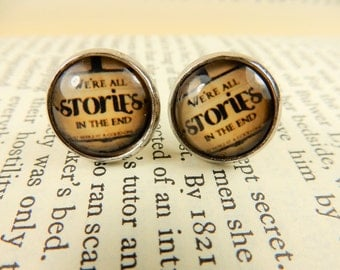 Doctor Who Earrings, We're All Stories in the End, Silver Studs, Quote Earrings, Dr Who Jewellery