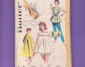 1950's Yoked BabyDoll Nightgown Nightie, Robe Sewing Pattern/ Butterick 7559 Loose, Brunch Coat, loungewear top pants/ Size 14 Bust 36