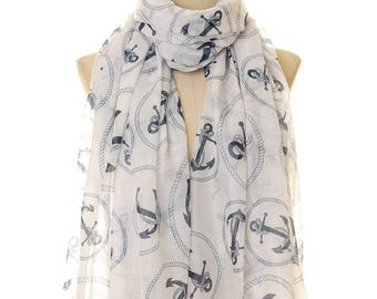 White Anchor Scarf | Anchor Infinity Scarf | Nautical Scarf | Beach Scarf | Sailor Scarf | Summer Scarf | Anchor Shawl | Sailor Gift S-232