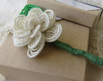 Beaded buttonhole, French beaded buttonhole, Mens buttonhole, Buttonhole, Beaded flowers, Wedding accessories, Ivory buttonhole