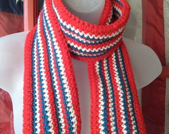 Crocheted USA Scarf, Patriotic Scarf, Red White and Blue Scarf, USA Scarf, Flag Scarf, Patriotic American Flag Scarf