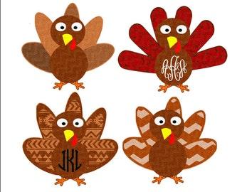 Patterned Monogram Turkey SVG,EPS Png DXF, Cricut Design Space, Silhouette Studio, Layered Digital Cut Files, Print Then Cut png
