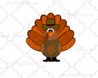 Cowboy Turkey Monogram Frame SVG, EPS, Png, DXF, Fall Cut files for Cricut explore, Silhouette cameo, Vinyl Cutters  Layered Cut Files