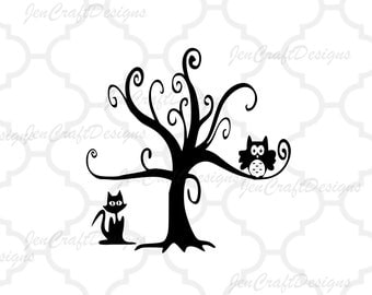 Owl in SPooky tree Svg and PNG Format for Cricut and Silhouette, Halloween cat and owl svg