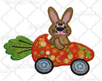 Easter Bunny Applique Design, 5x7 Easter Bunny in Carrot Car Machine Embroidery, Easter Applique Design Exp, Hus, Inf, Jef, Pes, Vip, XXX